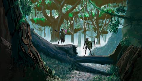 exploradores en el bosque
