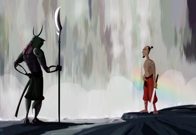 samurais en la cascada